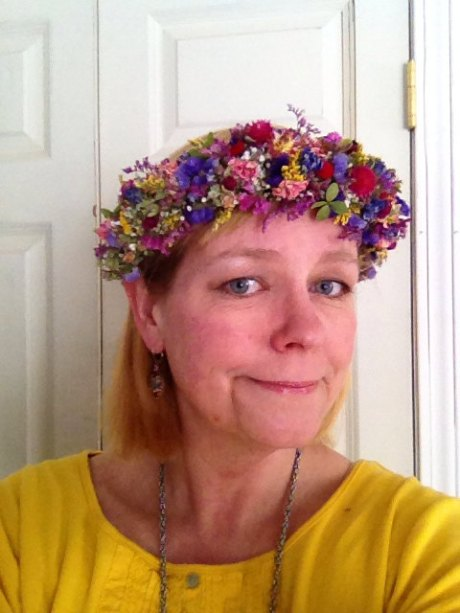 Dried flower head wreath or halo. In a rainbow of colors perfect for any 'boho chic' wedding style!