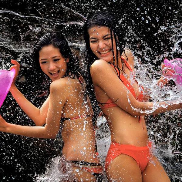 Girls enjoying Songkran