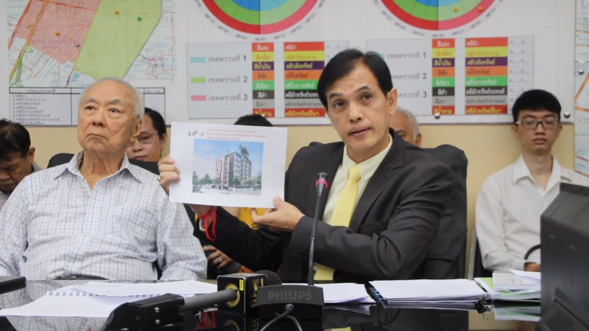 Phayathai neighbours fight district director over approval of 'tall' eight-storey building