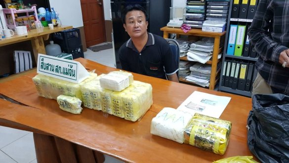 Chiang Rai man arrested with 108,000 meth pills, 2kg of 'ice'. A man