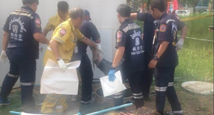 Dead customer found in septic tank as shop owner vanishes. Police are hunting for the owner of a food shop in Bangkok's Lat Krabang district