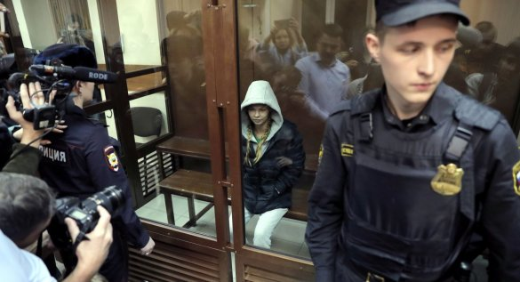Anastasia Vashukevich trial. Anastasia Vashukevich attends hearing of investigation motion on her arrest at the Nagatinsky district court in Moscow, Russia,