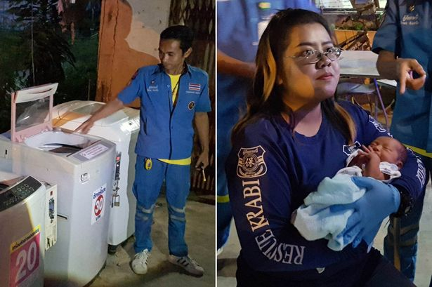 Newborn baby left alive in a WASHING MACHINE in Thailand