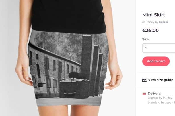 Website slammed for selling 'sickening' Auschwitzthemed items. Website slammed for selling 'sickening' Auschwitz-themed miniskirts, pillows and tote bags