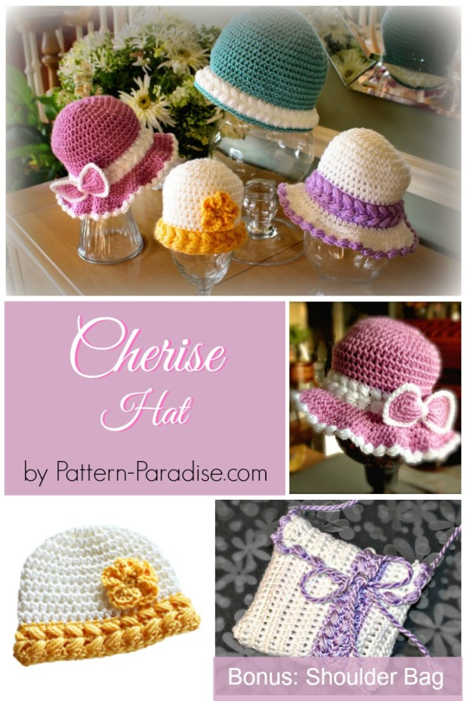 Crochet Pattern Cherise Hat and Bag by Pattern-Paradise.com