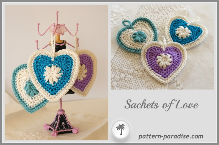 Sachets of Love by pattern-paradise #crochet #freepatterns #sachet #heart
