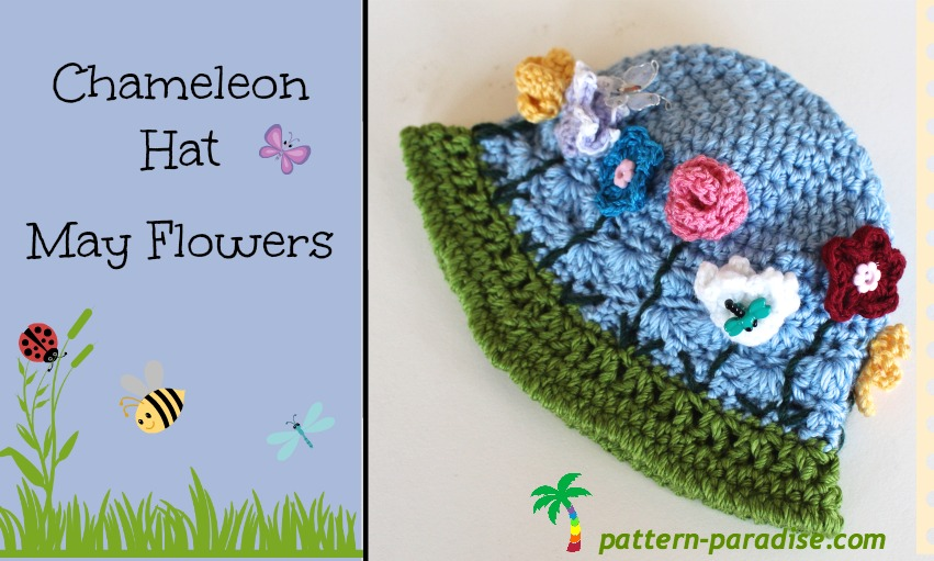 Free Crochet Pattern Chameleon Hat May Flowers Pattern Paradise