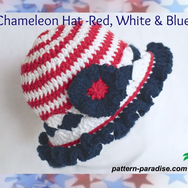 FREE Crochet Pattern – Chameleon Hat   Red, White & Blue!