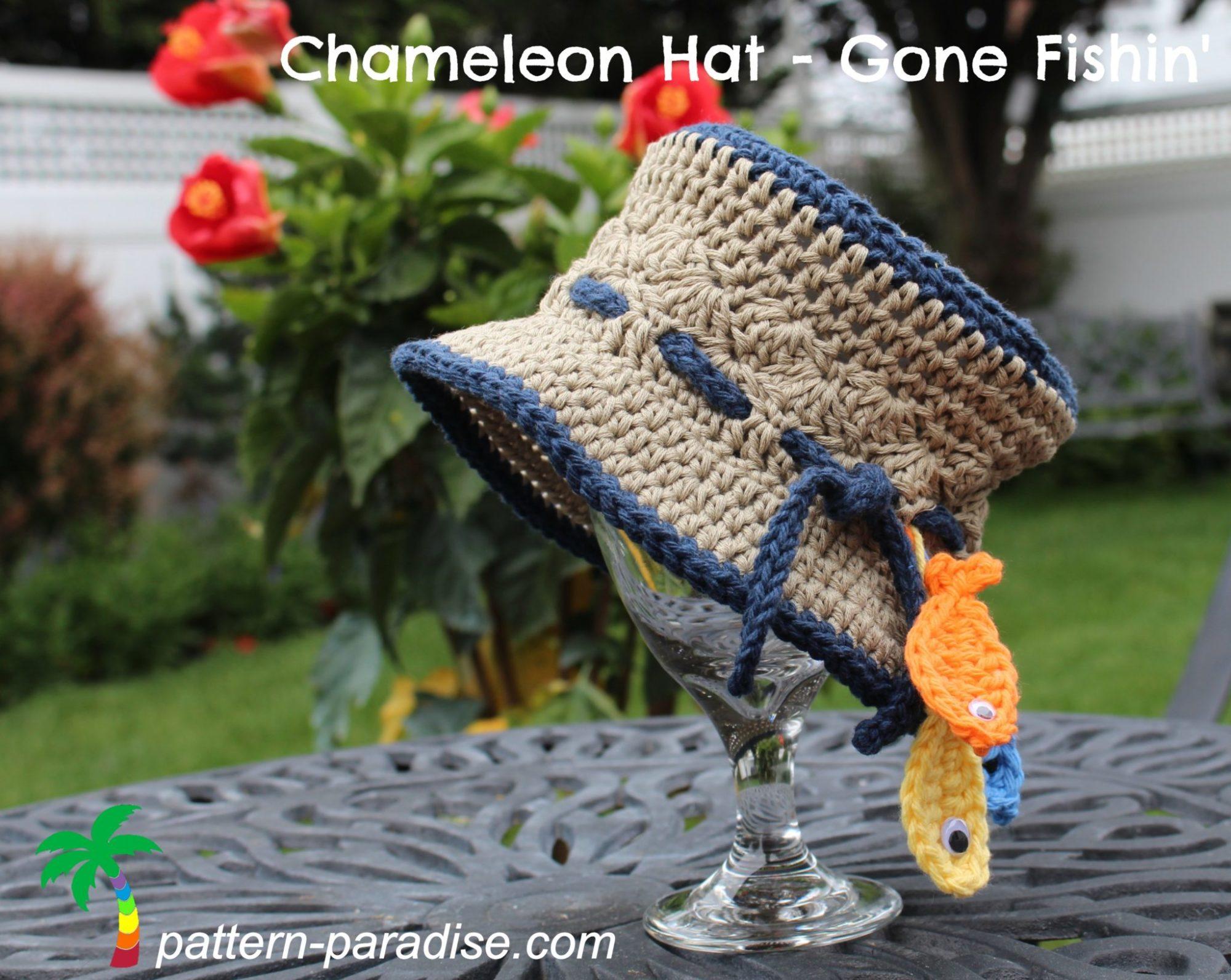 Free Crochet Pattern Chameleon Hat Gone Fishin Pattern Paradise