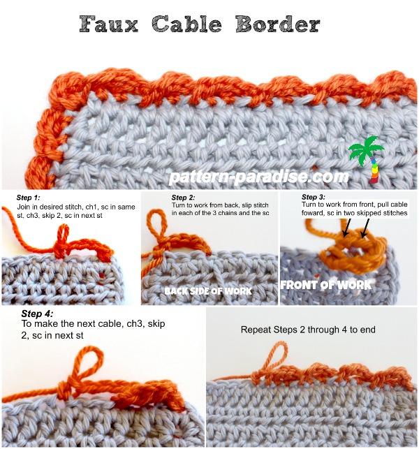 Crochet Faux Cable Border