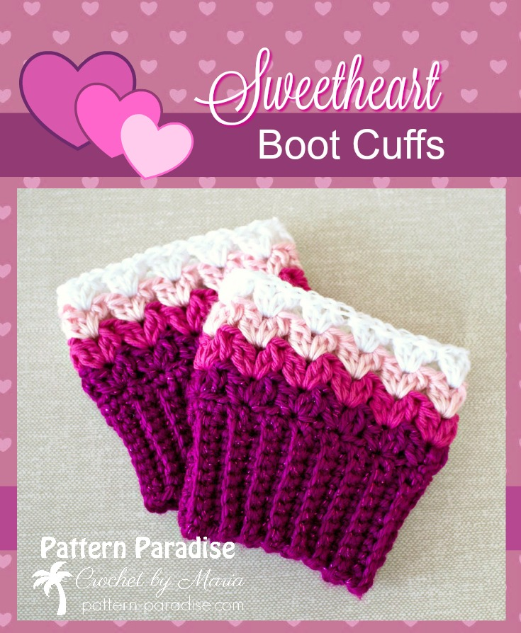 Free Crochet Pattern Sweetheart Boot Cuffs Pattern Paradise