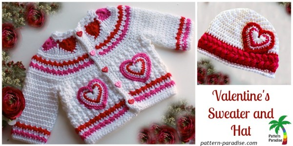 Heart Sweater and Hat