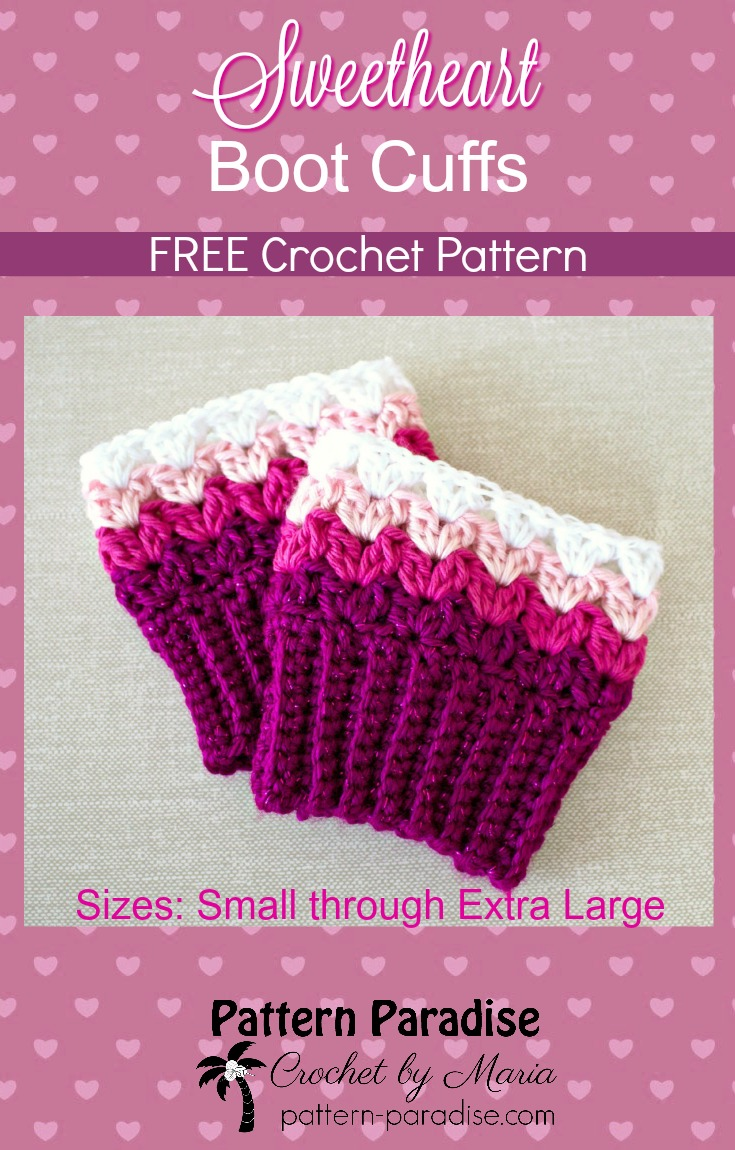 FREE Crochet Pattern - Sweetheart Boot Cuffs | Pattern Paradise