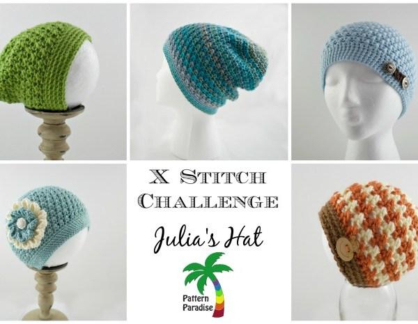 Free Crochet Pattern-X Stitch Challenge, Julia's Hat