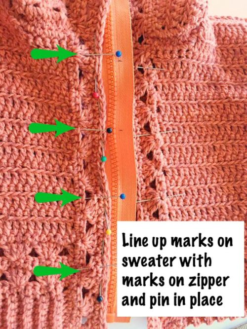 #4 Installing a Zipper in a Crocheted Garment by Pattern-Paradise.com