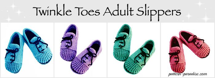 Twinkle Toes Adult Slippers by Pattern-Paradise.com