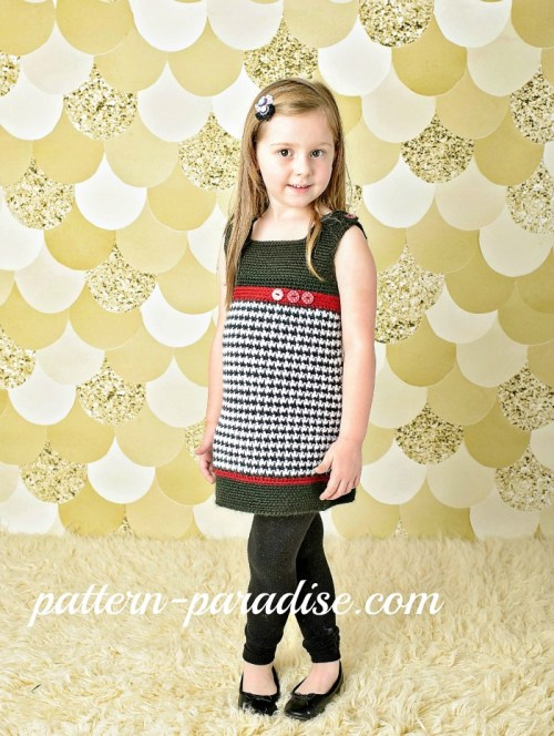 W Crochet Pattern Houndstooth Jumper by Pattern-Paradise.com