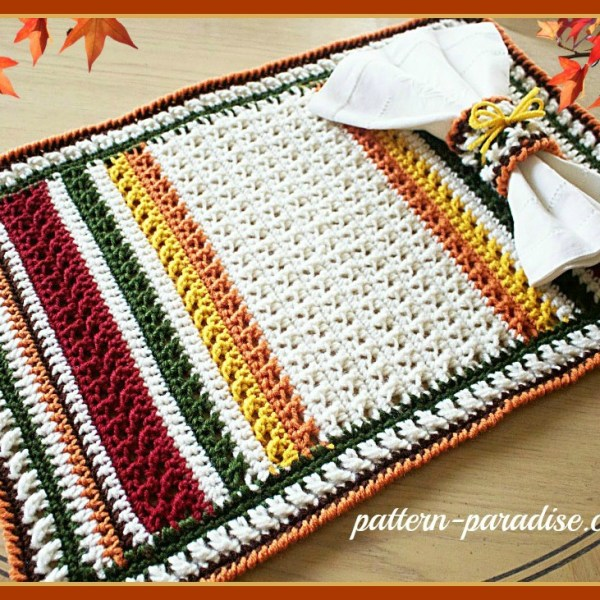 Free Crochet Pattern-X Stitch Challenge, Harvest Placemat Set