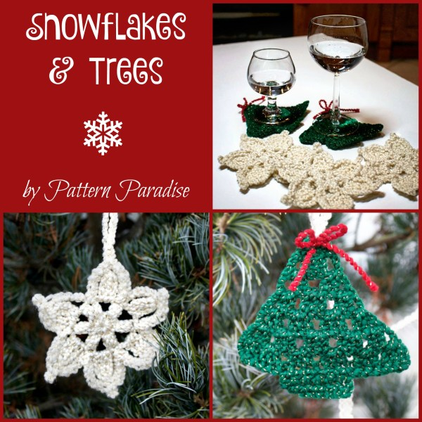 Free Crochet Pattern: Snowflakes & Trees Coasters & Garland