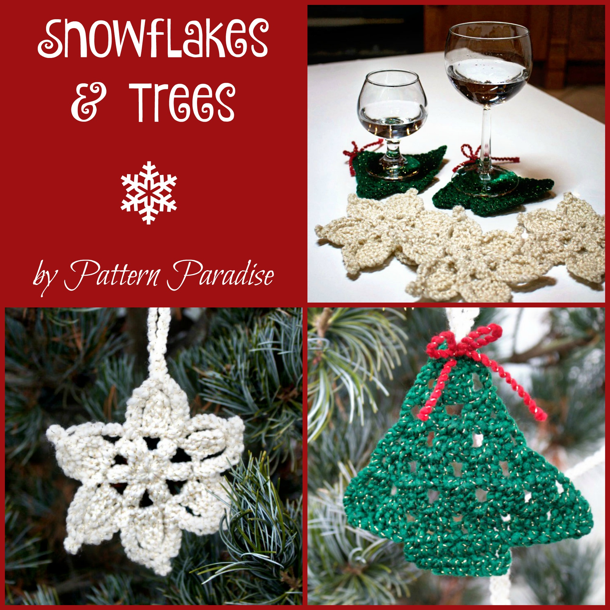 Free crochet pattern snowflakes trees coasters garland snowflakes and trees by pattern paradise bankloansurffo Choice Image