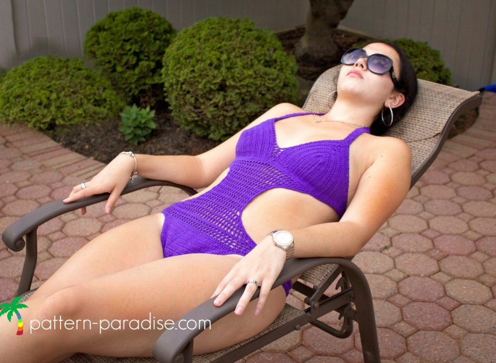Crochet Pattern for Passion Fruit Monokini Swimsuit by Pattern-Paradise.com