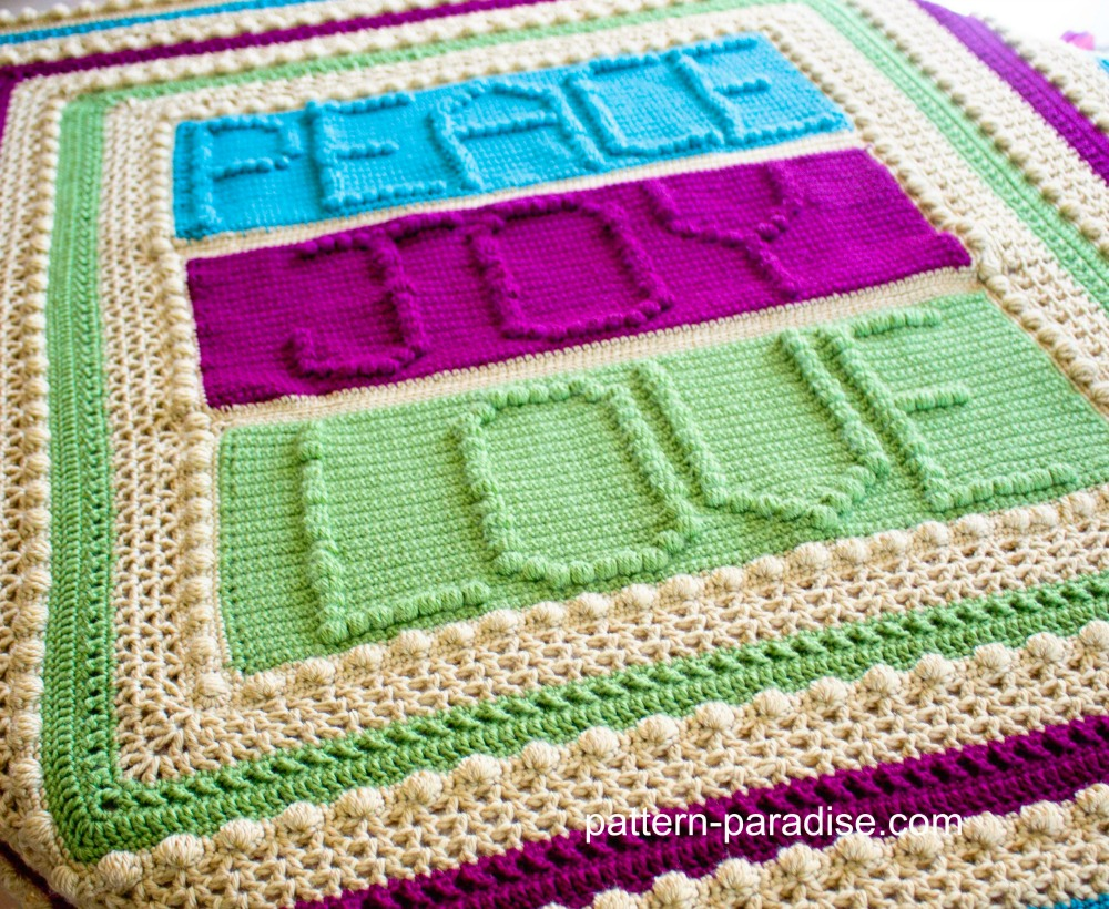 Free Crochet Pattern: Peace, Joy and Love Throw | Pattern Paradise
