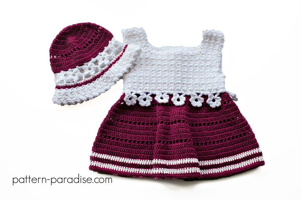 Crochet Pattern Violet Blooms Dress & Hat Set by Pattern-Paradise.com