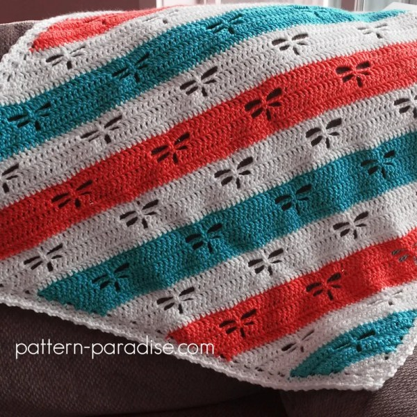 Free Crochet Pattern: Dragonfly C2C Throw