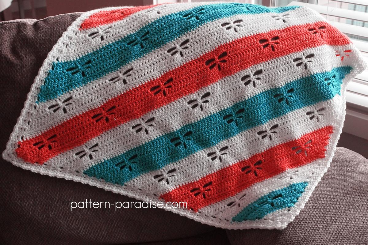 Free Crochet Pattern Dragonfly C2c Throw Pattern Paradise