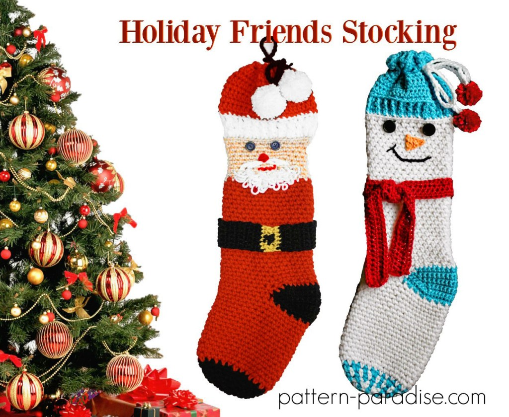 Crochet Pattern Holiday Friends Stocking by Pattern-Paradise.com