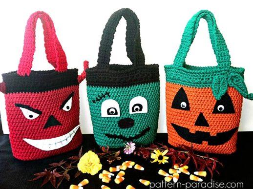 Free Crochet Pattern Halloween Bags by Pattern-Paradise.com
