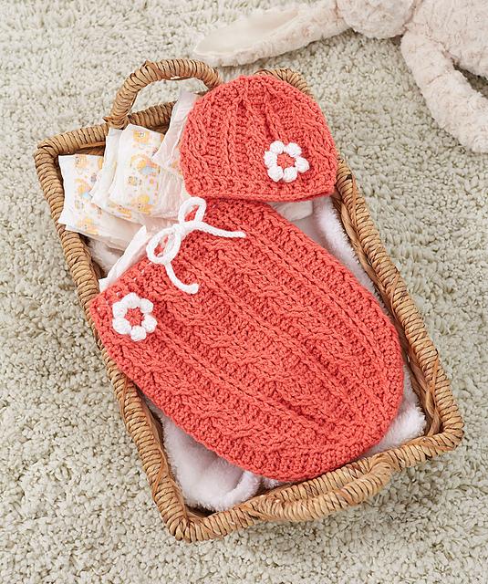 Free Crochet Pattern Just Peachie Cocoon Set Pattern Paradise