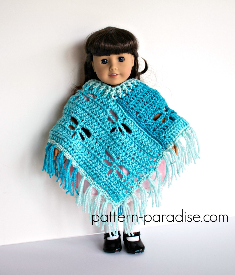 Free Crochet Pattern Dragonfly Poncho For 18 Dolls Pattern Paradise