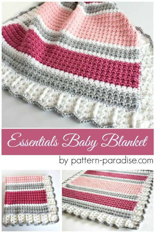 Free Crochet Pattern Essentials Baby Blanket Pattern Paradise