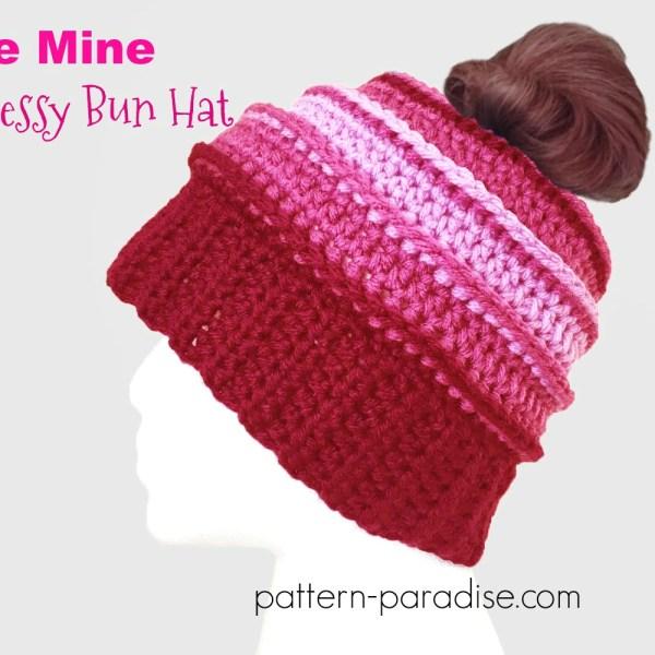 Free Crochet Pattern: Be Mine Messy Bun Hat