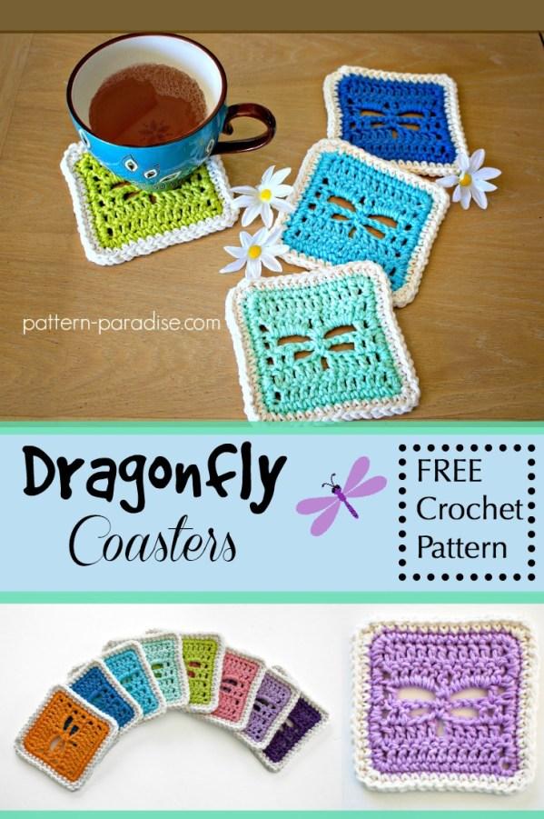 Free Crochet Pattern Dragonfly Coasters Pattern Paradise