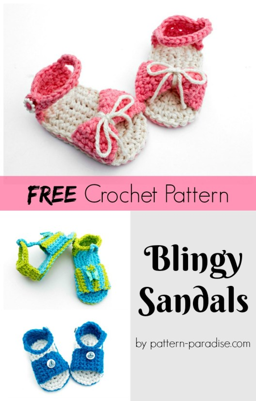 Free Crochet Pattern Baby Slipper Sandals by pattern-paradise.com
