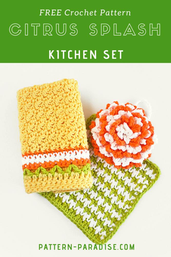 Free Crochet Pattern Citrus Splash Dishcloth Set Pattern Paradise