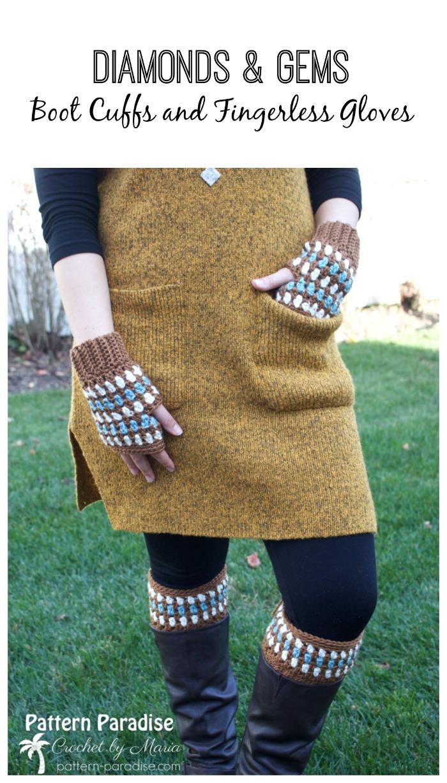 Free Crochet Pattern Diamonds Gems Fingerless Gloves And Boot