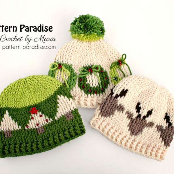Free Crochet Pattern: Graphic Christmas Hats