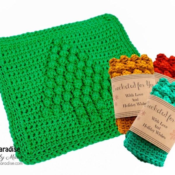 Free Crochet Pattern: Christmas Tree Dish Cloth