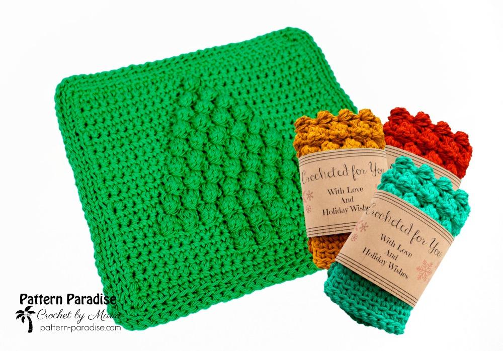 Free Crochet Pattern Christmas Tree Dish Cloth Pattern Paradise