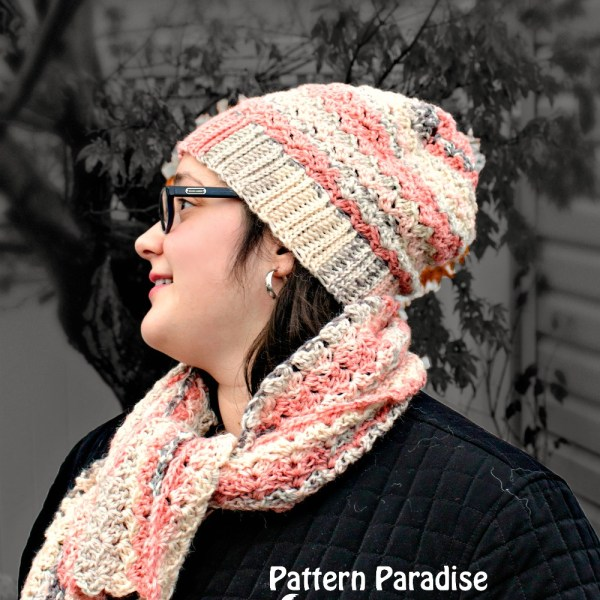 Free Crochet Pattern: Sunset Blush Hat and Scarf Set
