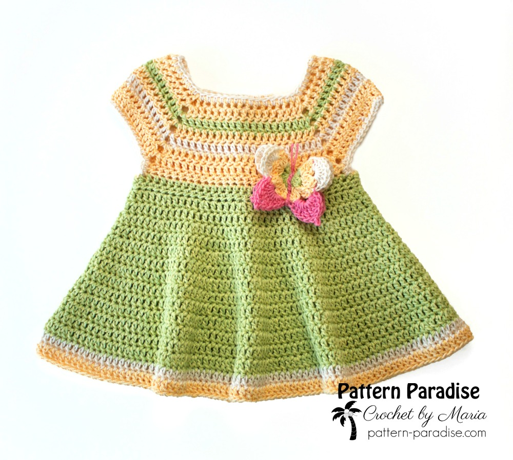 Free Crochet Pattern: Butterfly Kisses Dress | Pattern Paradise