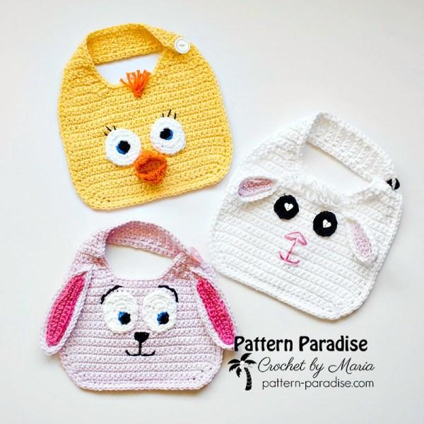 Free Crochet Pattern: Animal Friends Bibs