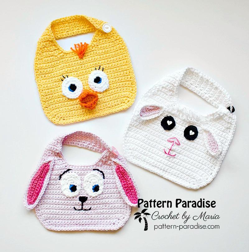 Free Crochet Pattern Animal Friends Bibs Pattern Paradise