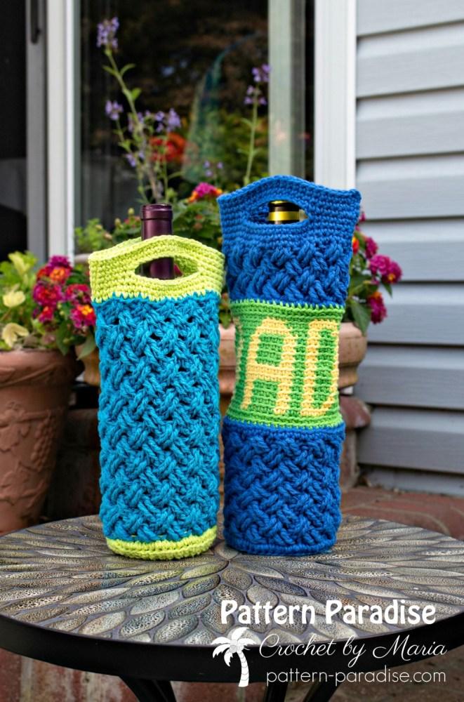 Free Crochet Pattern Celtic Bottle Bag Pattern Paradise