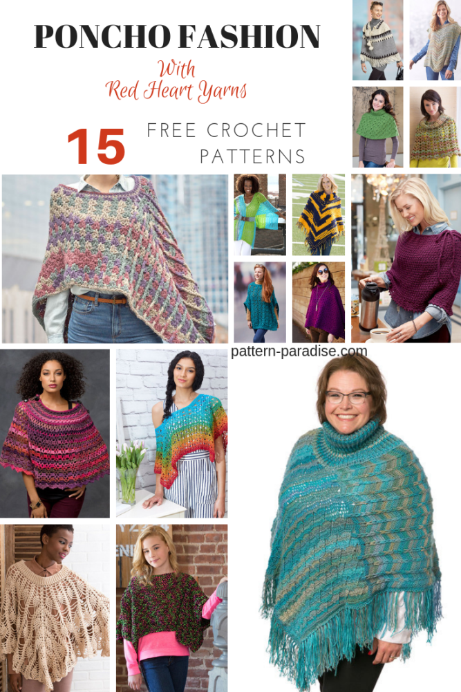 Poncho Crochet Patterns by Red Heart Yarns on Pattern-Paradise.com