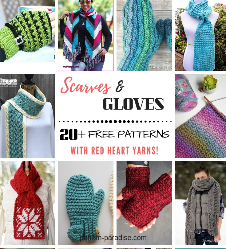 Crochet Finds Fingerless Gloves Scarves Made With Red Heart Yarns