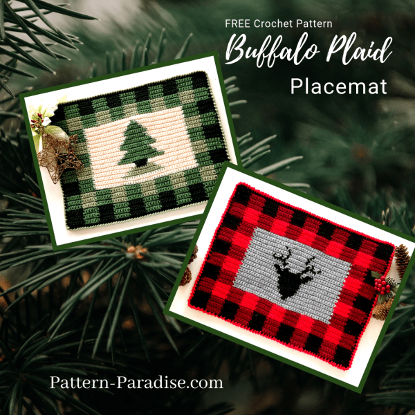 Free Crochet Pattern: Buffalo Plaid Placemat